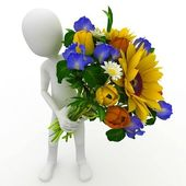 3d man with flowers — Stock Photo