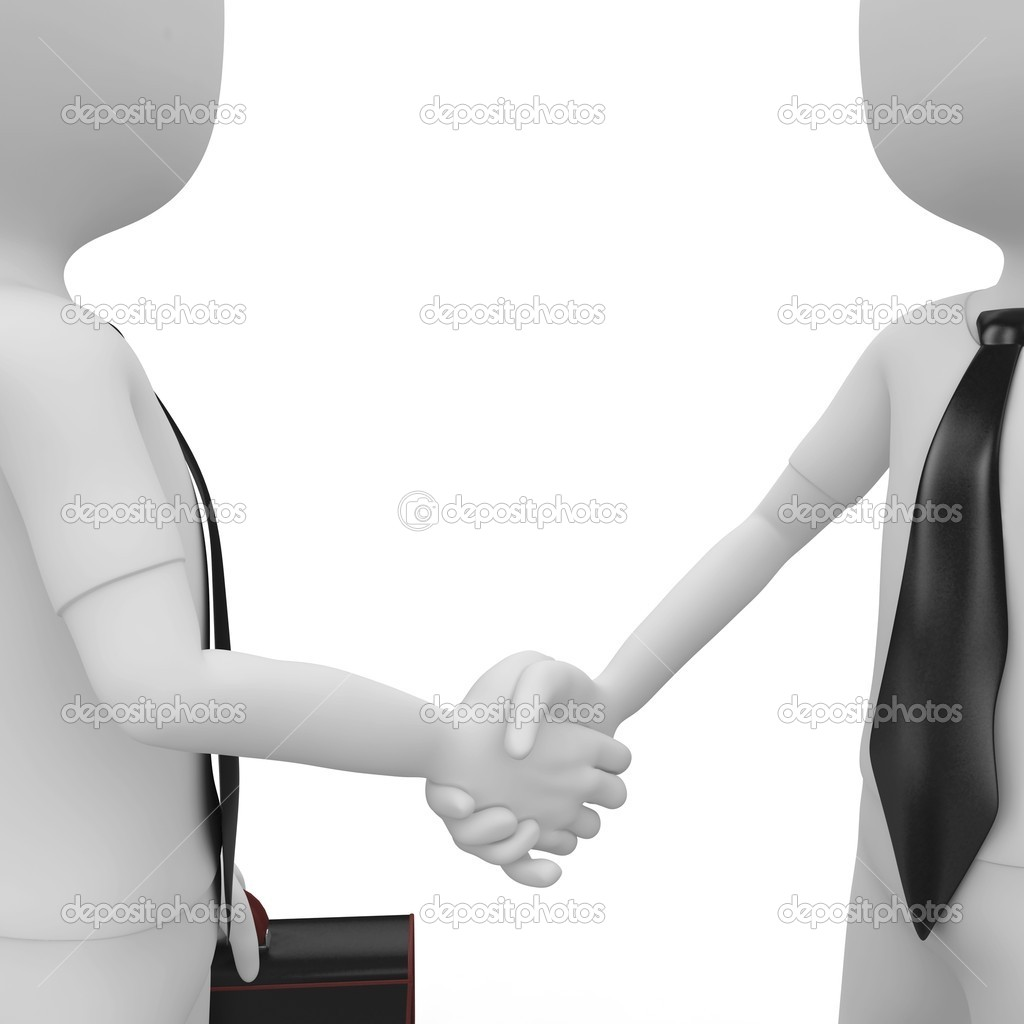 3d man business shaking hands isolated on white — Stock Photo #3993714