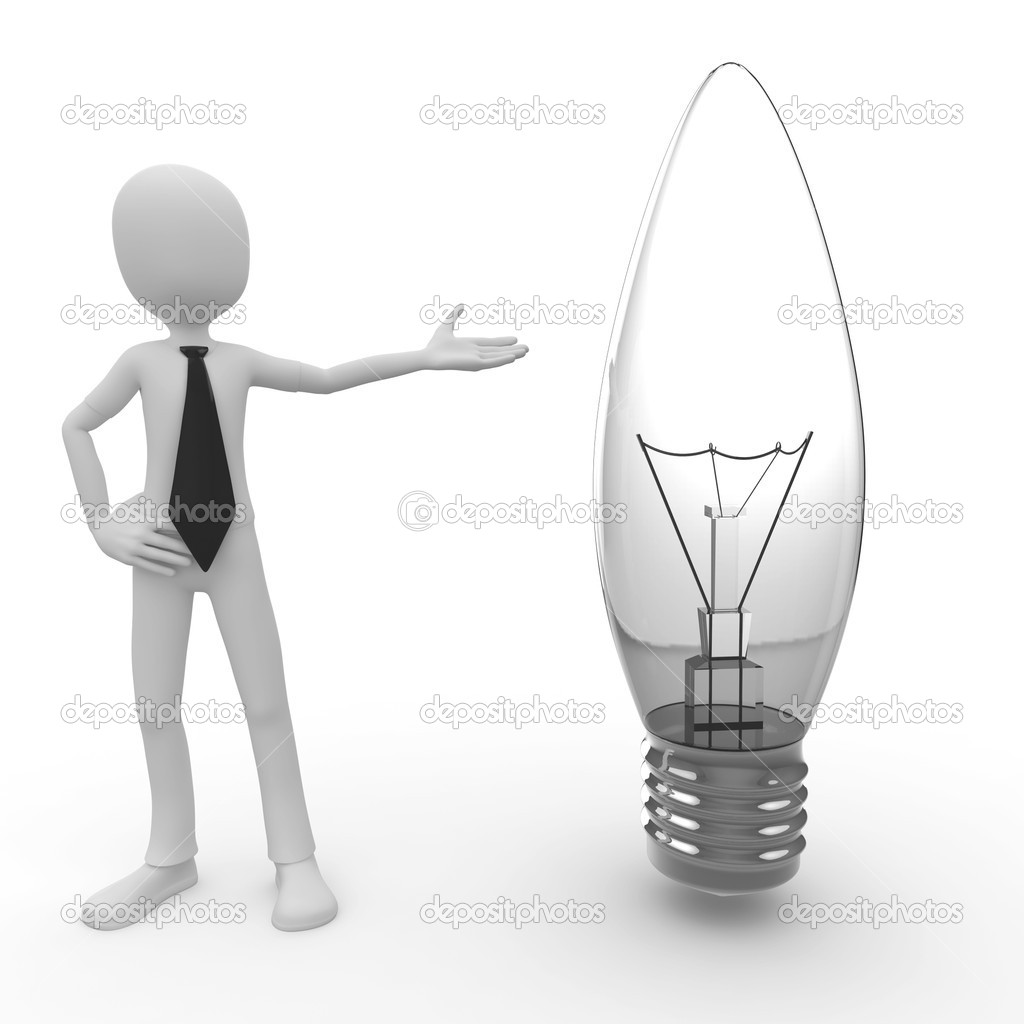 3d man with lightbulb isolated on white — Stock Photo #3993726