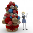 3d girl with arrangement for Christmas - Stock Photo