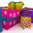 3d christmas gift boxes — Stock Photo