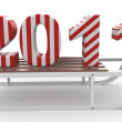 3d Happy New Year 2011 with sleigh — Stock Photo