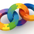 Stock Photo: 3d puzzle color wheels
