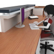 Royalty-Free Stock Photo: 3d girl working at the help desk