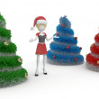 3d girl with Christmas tree — Stock Photo