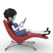3d girl with laptop sitting on chair — Stock Photo