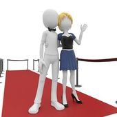 3d man and girl posing on the red carpet — Stock Photo