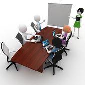 3d 的男人和女孩会议 — 图库照片