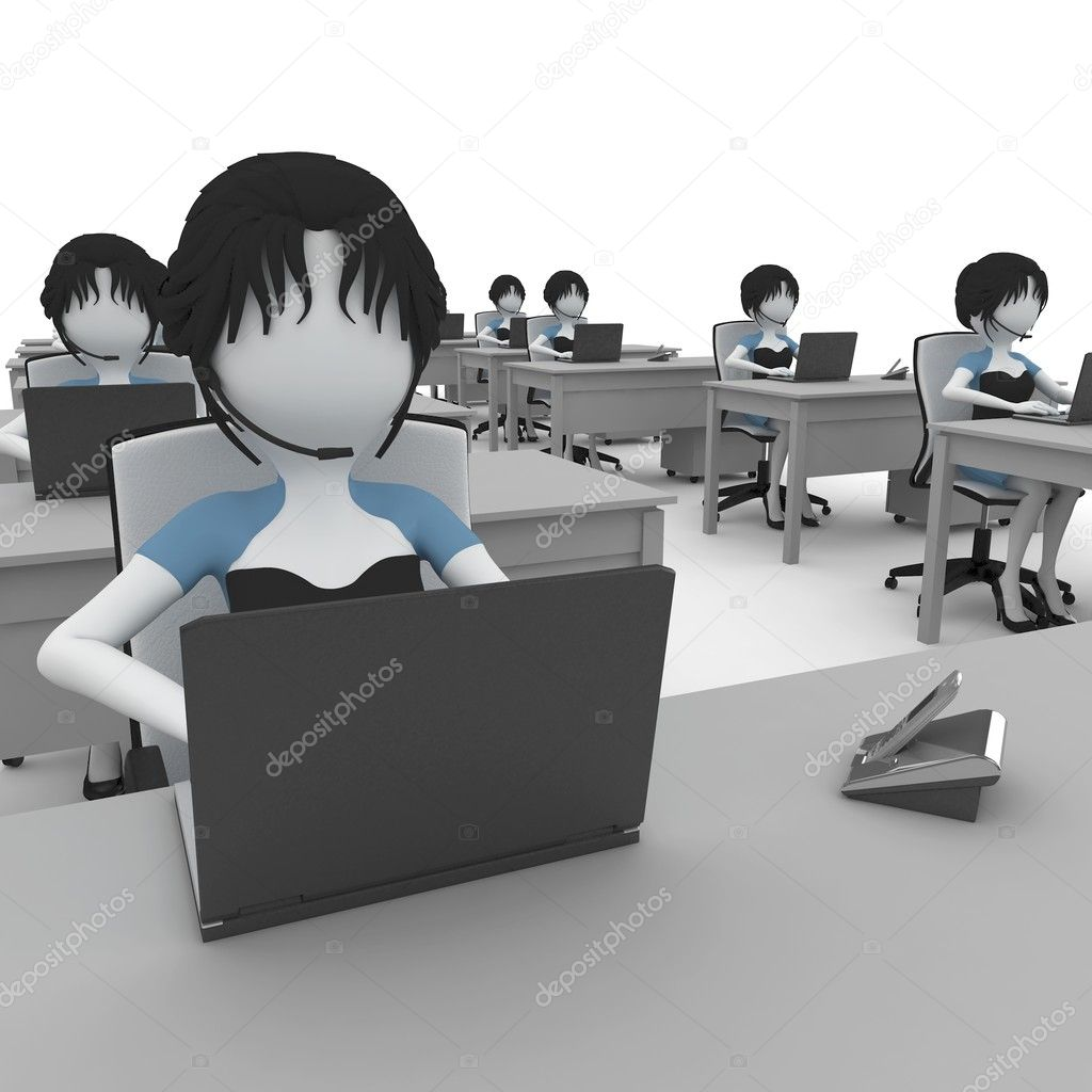 3d girl working in the office isolated on white — Stock Photo #4232958
