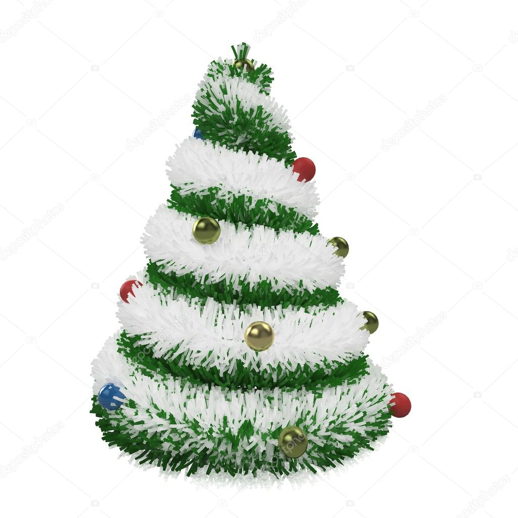 3d Christmas tree isolated on white — Stock Photo #4330473