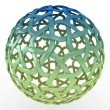 Stock Photo: 3d decorative sphere green blue gradient