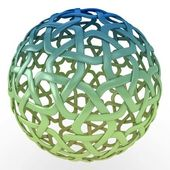 3d decorative sphere green blue gradient — Stock Photo