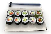 3d maki sushi plate consisting of salmon, cucumber and minced tuna maki rol — Stock Photo