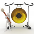 Stock Photo: 3d man with big gong