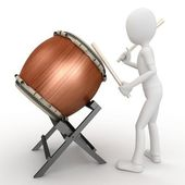 3d man with drum — Stock Photo