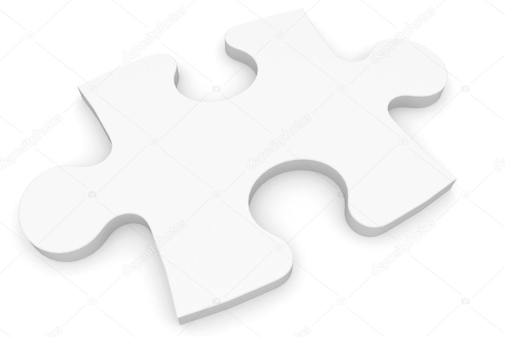 3d blank  Puzzle piece isolated on white — Stock Photo #4555917