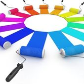 3d color wheel with rollers — Stock Photo