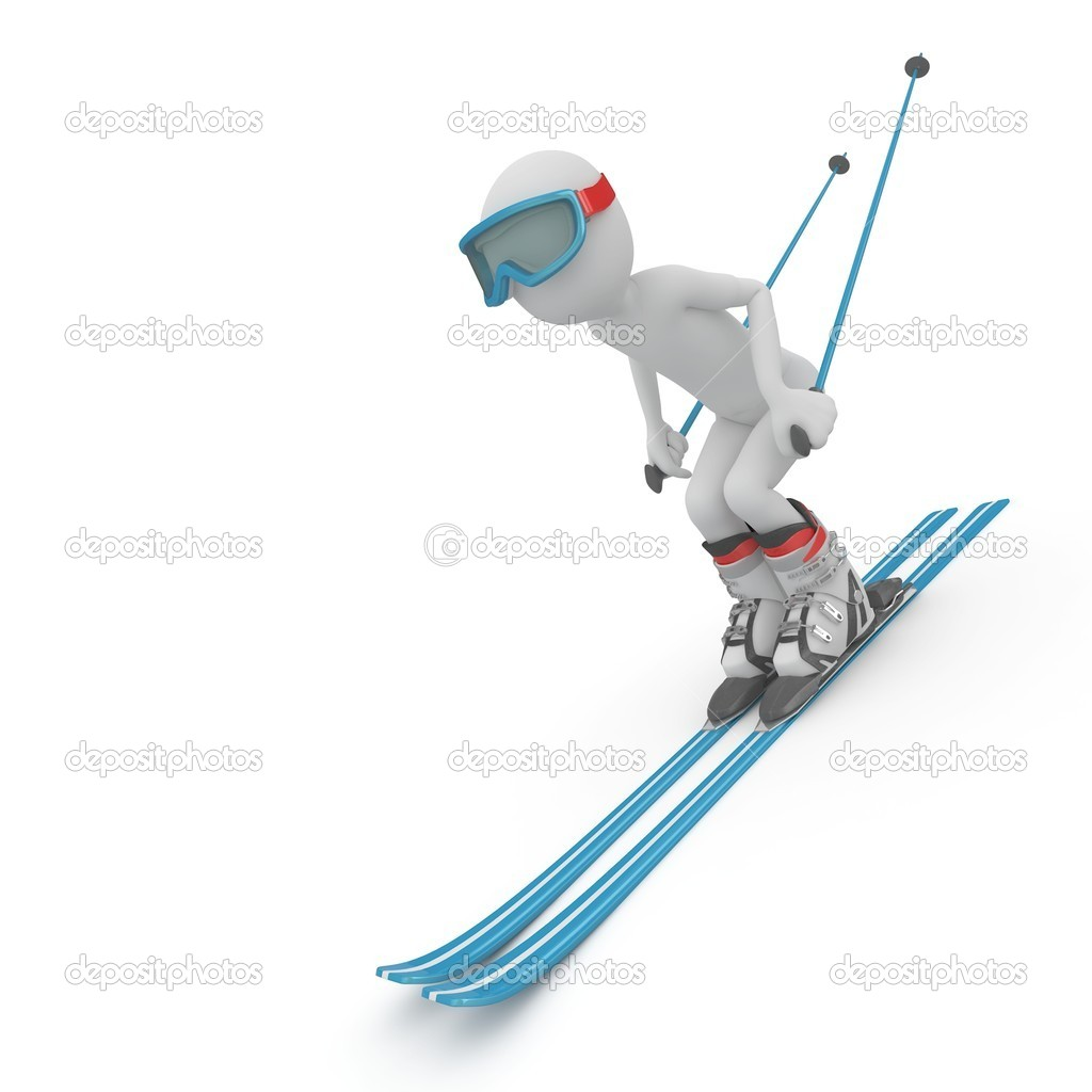 3d man skiing down a slope isolated on white — Stock Photo #4717294