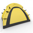 3d yellow camping tent — Stockfoto