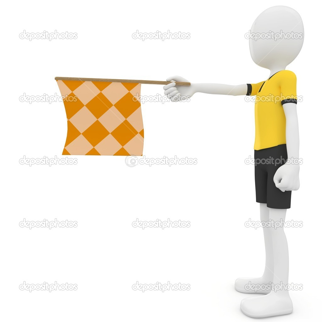 3d man assistant referee with flag isolated on white — Stock Photo #4813809