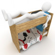 3d man sleeping in little bed — Stok fotoğraf