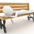 3d man sleeping on bench - Stock Photo