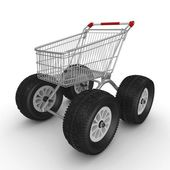 3d shopping push cart — Stock Photo