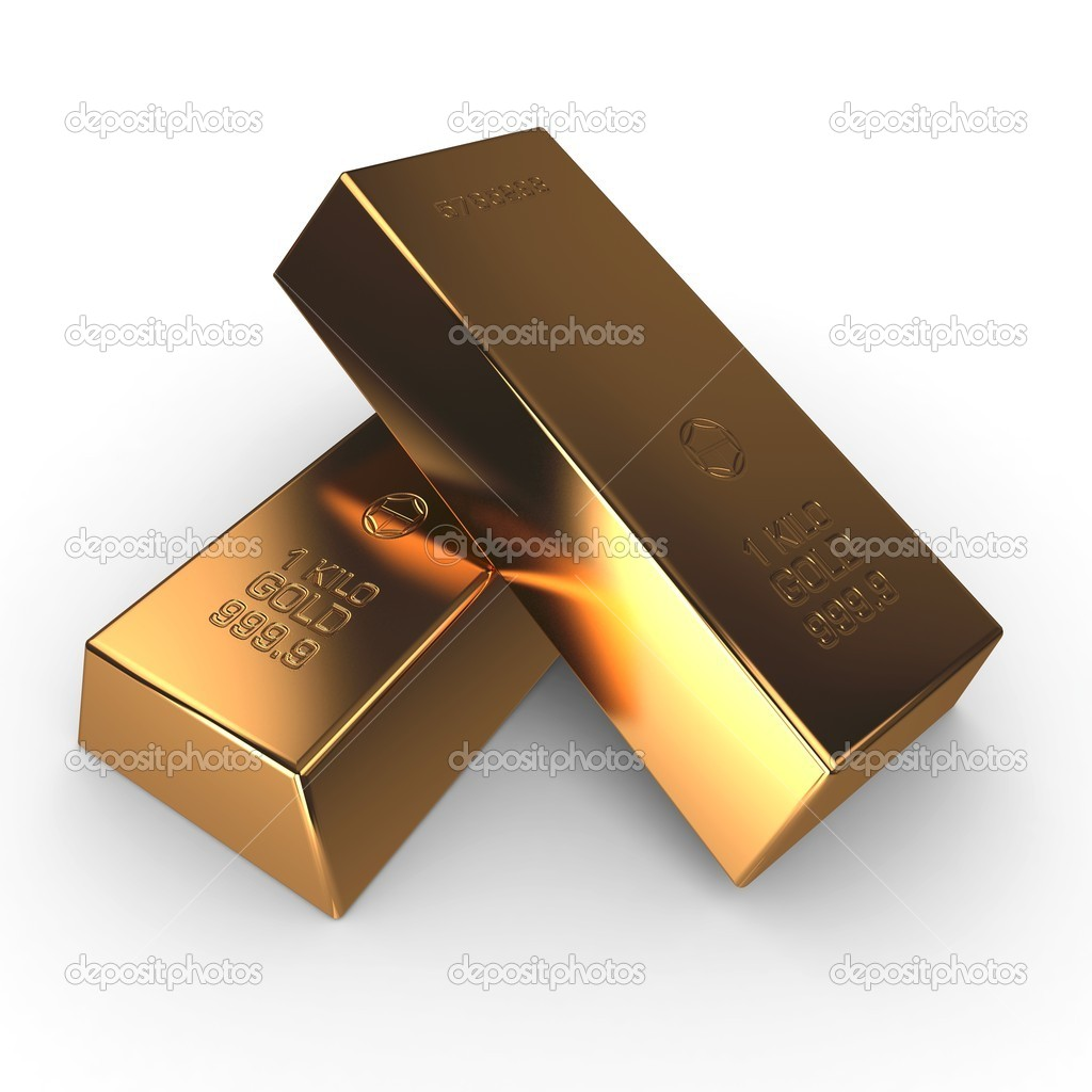 3d investment gold bars isolated on white — Stock Photo #4860259