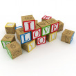 3d cubes with I love you message — Stock Photo