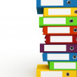 3d binders stacked with blank labels - Stock Photo