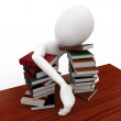 3d man with books sleeping tired — 图库照片