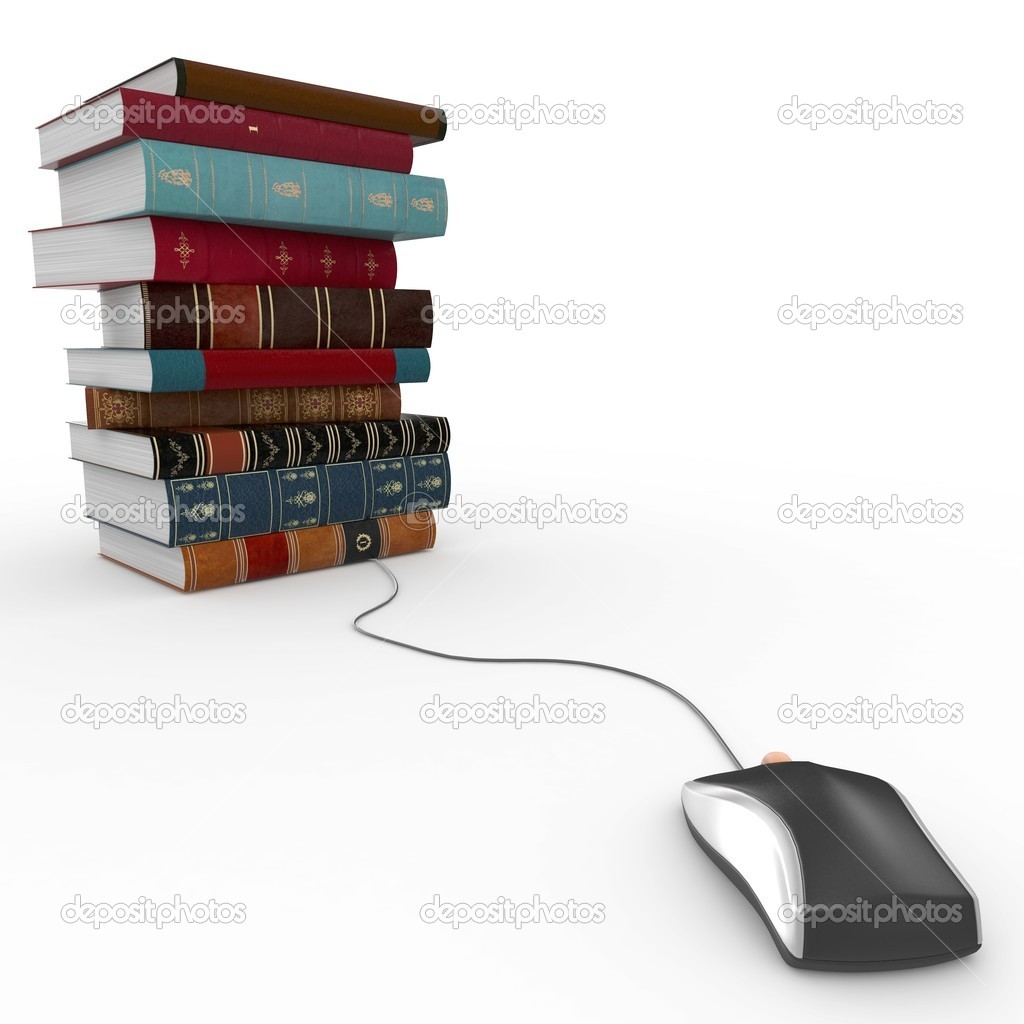 3d books and mouse e-learning concept isolated on white — Stock Photo #4968379