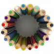 Stock Photo: 3d colourful pencils wave