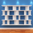 3d Empty shelves for exhibit — Stock Photo