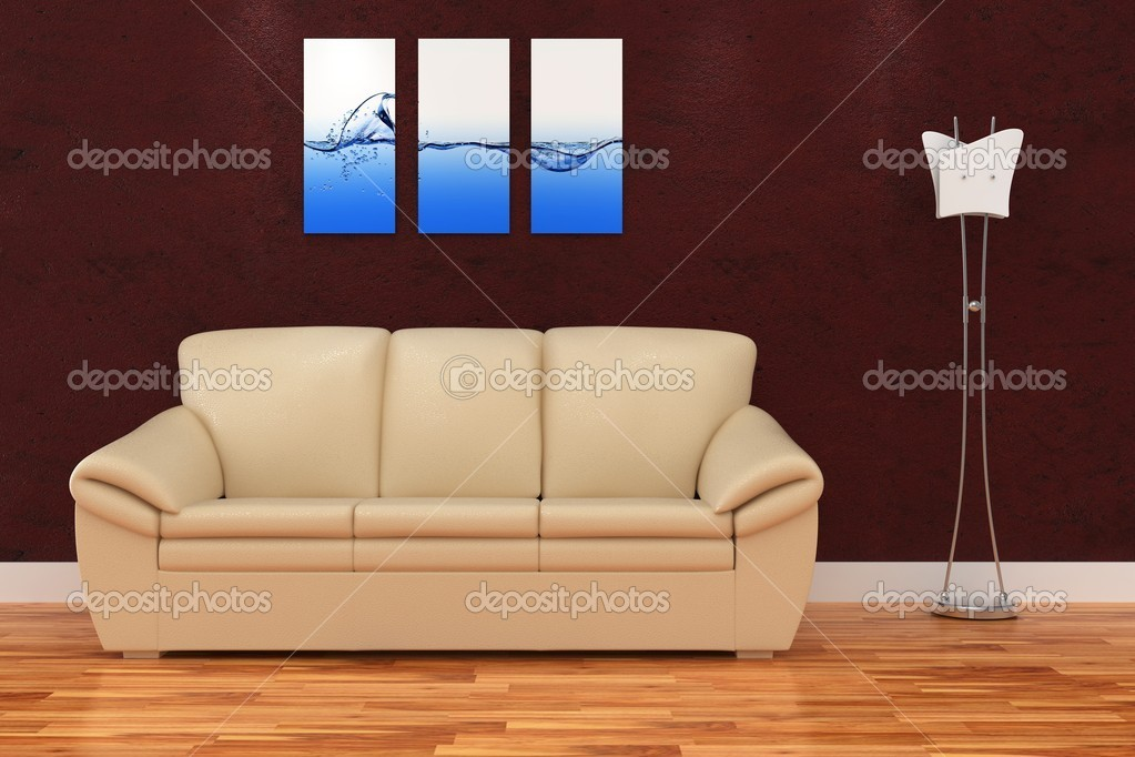 3d modern interior room with nice sofa and lamp  Stock Photo #5086861