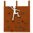 3d man escalating a climbing wall — Foto Stock