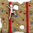 3d man escalating a climbing wall — 图库照片