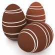 3d chocolate eggs with white stripes - Stock Photo
