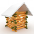 3d house if matches with roof — Foto Stock