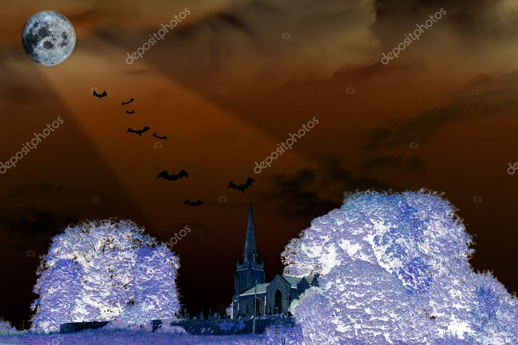 A haunted scene with bats flying above a church graveyard in the moonlight beams — Stock Photo #5000005