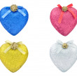 Christmas colored hearts — Stock Photo