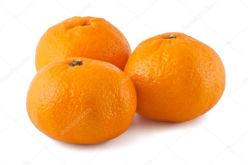 Three ripe tangerines isolated on white background — Stock Photo #4676124