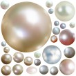 Royalty-Free Stock Vector Image: Collection of color pearls isolated on white.