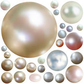 Collection of color pearls isolated on white. — Stock Vector