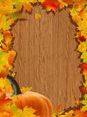 Podzimní pozadí s dýní na dřevěné desce. eps 8 — Stock vektor