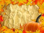 Fondo de otoño con calabaza en papel. — Vector de stock