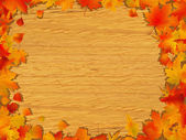 Autumn background on wooden board — Stock Vector