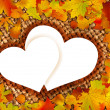 Colorful frame of fallen autumn leaves. — Stock Vector