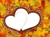 Färgglada ram av fallna hösten lämnar. — Stockvektor