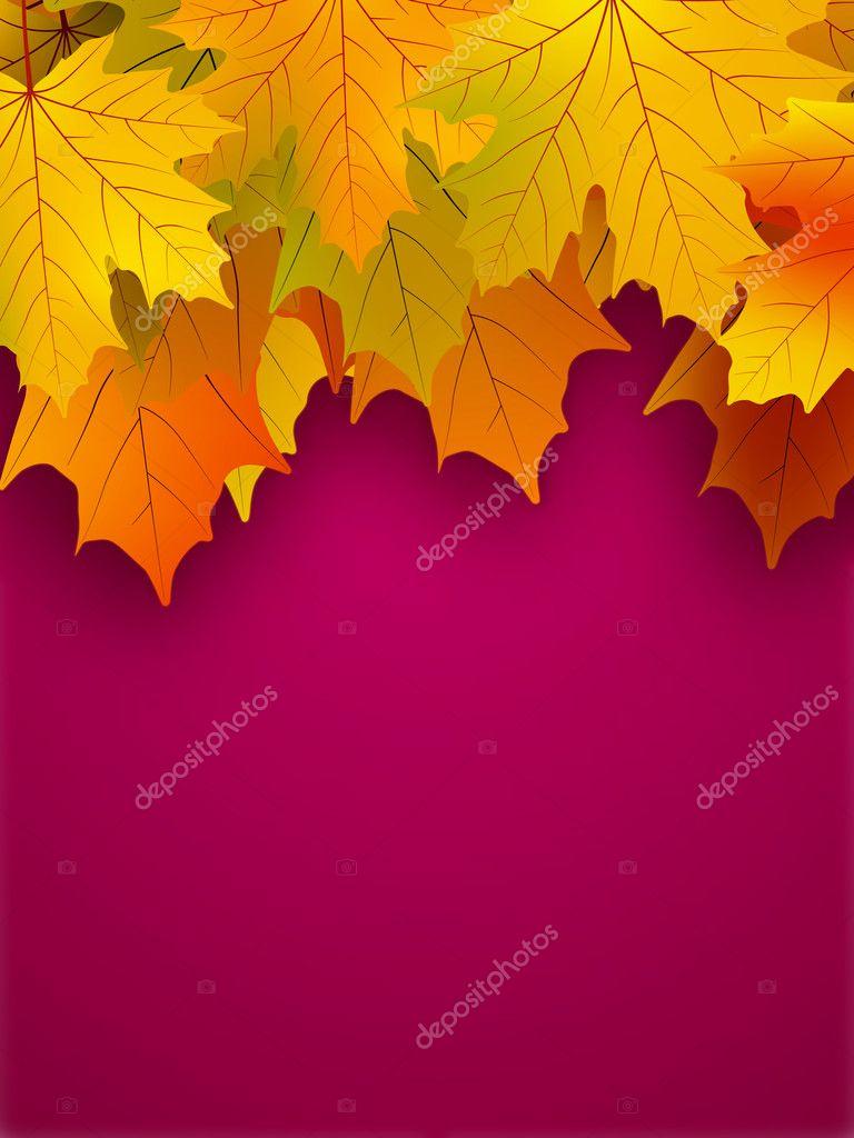 黄色秋天的叶子红色背景上 — 图库矢量图片 #4151667